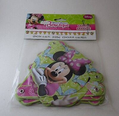 New Minnie Mouse Bowtique Birthday Banner 6 Foot Length