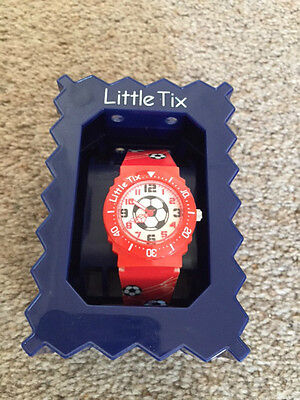 Boys Little Tix Red Watch Football Black Plastic Strap Boxed Needs Battery