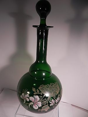 Antique Bohemian Green Glass Decanter Gold and Enamel Floral Decoration Harrach?