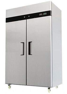 Two 2 Double Door Commercial Stainless Steel FREEZER MBF8002 MBF-8002 44.5 Cu Ft