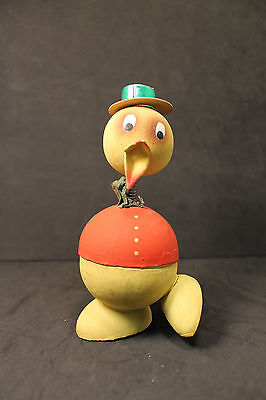 Papier Paper Mache Candy Container Easter Duck Germany Red Coat Green Hat Nice
