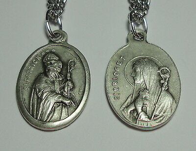 "Vintage-Look New St Patrick & St Bridget Holy Medal on 24"" Chain"