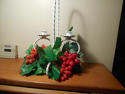 Twisted Rope White Centerpiece with grapes holds 2 votive cups Home Interiors