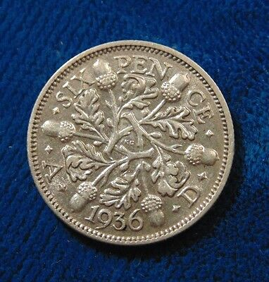 1936 U.K. Great Britain England silver six 6 pence 6d piece coin