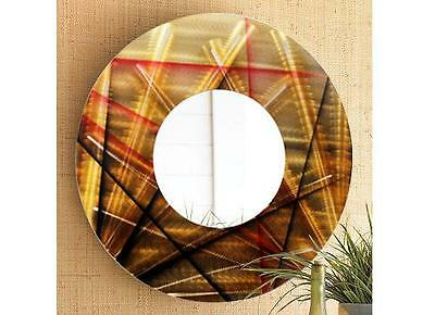 Gold/Red/Brown Large Modern Metal Wall Mirror Home Decor Art Accent by Jon Allen