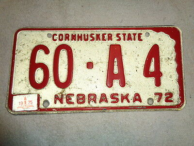 1972 1975 Nebraska License Plate Frontier County 60-A4  LOW NUMBER