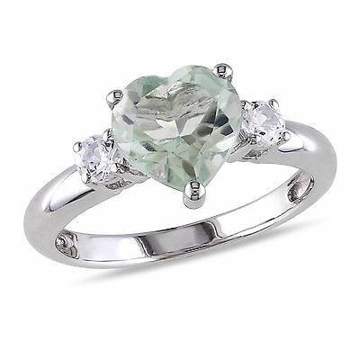 Sterling Silver Green Amethyst and Created White Sapphire Heart Ring