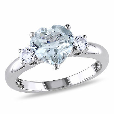 Sterling Silver Aquamarine and Created White Sapphire Heart Ring