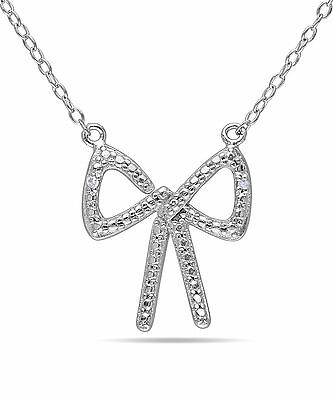 Sterling Silver Diamond Accent Bow Pendant Necklace