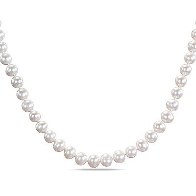 Sterling Silver White Cultured Freshwater Pearl Strand Pendant Necklace 8-9 mm