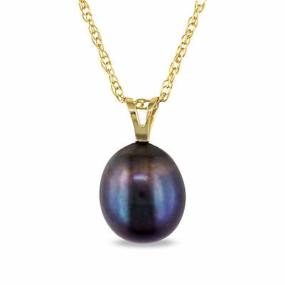 10k Yellow Gold Black Cultured Freshwater Pearl Pendant Necklace 8-9 mm