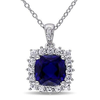 Sterling Silver Blue and White Sapphire with Diamond Halo Pendant Necklace