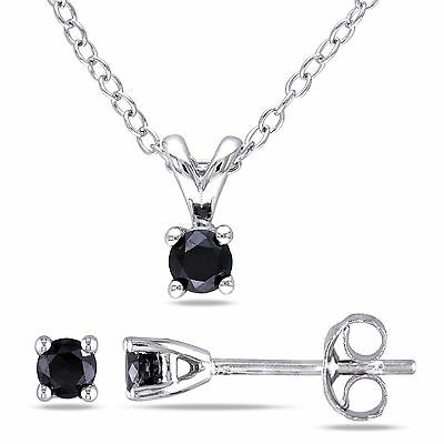 Sterling Silver Black Diamond Pendant Necklace and Earrings Set