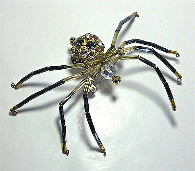 Vintage Blue Clear Rhinestone Big Chunky Spider Pin Brooch w Moveable Legs