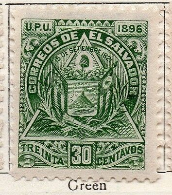 El Salvador 1896 Early Issue Fine Mint Hinged 30c. 121029