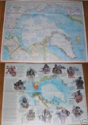 National Geographic MAP PEOPLES of ARCTIC / Arctic Ocean February 1983 Poster