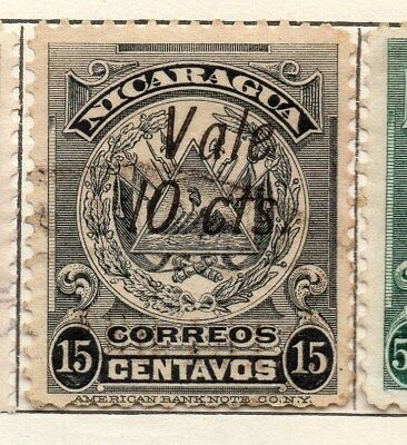 Nicaragua 1910 Early Issue Fine Used 10c. Surcharged Vale Optd 121306