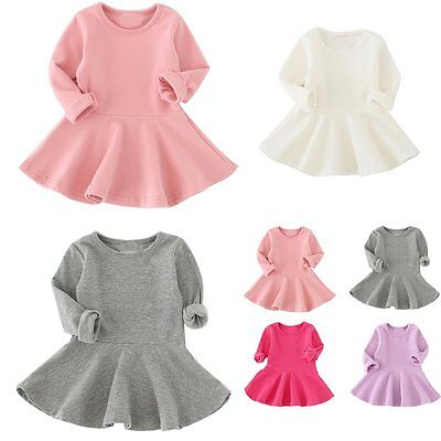 Toddler Baby Girls Kids Clothes Long Sleeve Party Princess Ruffled Swing Dress