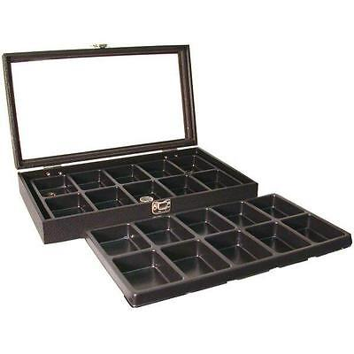 Glass Top Pocket Watch Black Display 20 Slot Tray Case