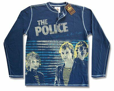 The Police & Trunk Ltd Walking On The Moon Blue Henley Shirt Med New Sting Band