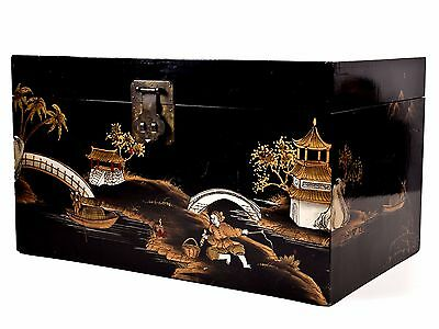 """Nice! 22"""" Black Lacquer Chinoiserie Chinese Box Hand-painted Gilt Design Trunk"""