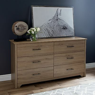 South Shore Furniture Fusion 6-Drawer Double Dresser Rustic Oak
