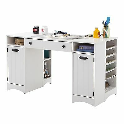 South Shore Furniture Artwork Craft Table with Storage Pure White