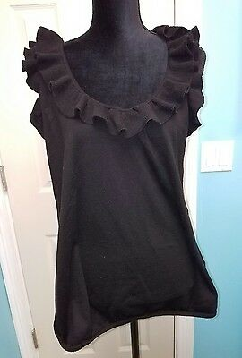 Womens Gap Maternity Black Ruffle Tank Top Blouse Shirt XL X-Large