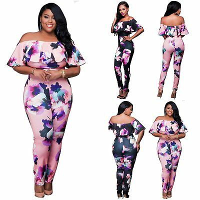 S-4XL Plus Size Women Clubwear Playsuit Bodycon Party Jumpsuit Romper Trousers