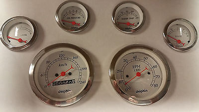 Dolphin 6 White Mechanical Speedometer Metric Kph Gauge Set With Sender White Ch