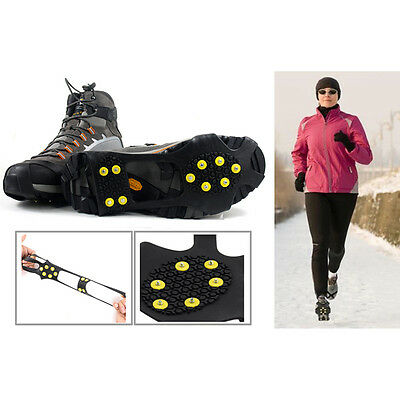 10-Teeth ICE NO SLIP SNOW SHOE SPIKES GRIPS CLEATS QUALITY CRAMPONS L New Black