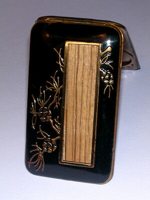 RARE Book Piece! ART DECO BLACK & GOLD COMPACT w/ ORIENTAL MOTIF  by VASHE
