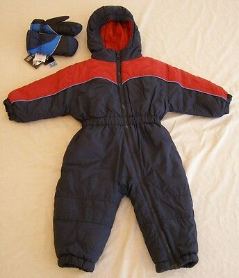 Boys Outbrook Kids Snowsuit, 18 Month, Excellent Condition w/ Mittens, Red/Blue