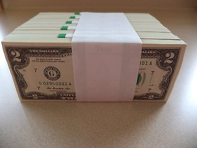 1 NEW Uncirculated $2 Dollar Bill Note Lucky Sequential Denomination US USD BEP
