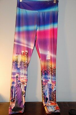 Justice for Girls size 16 Leggings New York Statue of Liberty multi-color
