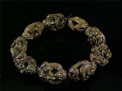 Antique Old Chinese Authentic Walnuts Carved Bracelet Prayer Beads w/ MONKEYS