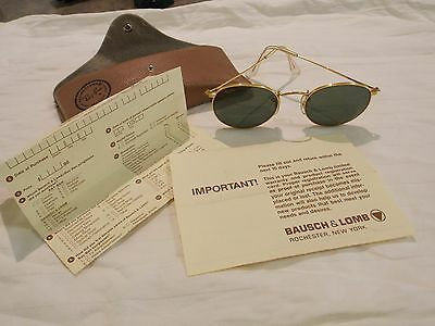Vintage B & L RAY BAN gold round rim glasses - with Case and Paperwork