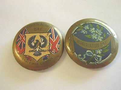 2 WW1 Home Front Repatriation Day Button Badges Returned Soldiers ANZACS SWC
