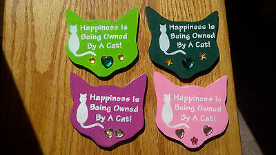 """Wood """"happiness Is Being Owned By A Cat """" Magnets"""