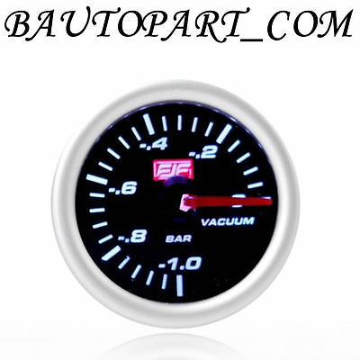 "Vacuum Gauges Meters 2"" 52mm -1~2bar Tinted Shell Car Smoke Universal Silver"