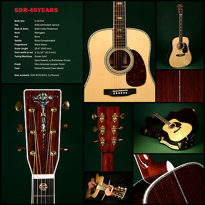 SIGMA GUITARS SDR-45 YEARS Steel String Acoustic Guitar A1 TOP NEW/NEW + Case
