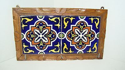 Hand Painted Mexican Tiles In Hand Carved Wood Frame Key Holder