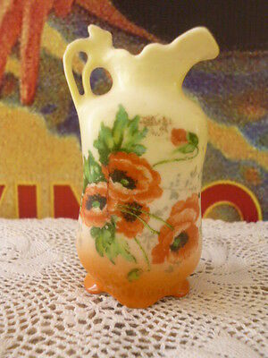 Antique vintage miniature vase porcelain china poppies flowers small