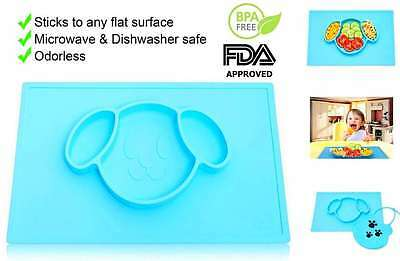 Kids Placemats Silicone for Baby toddler Plate happy mat BPA FREE (Set of 2)