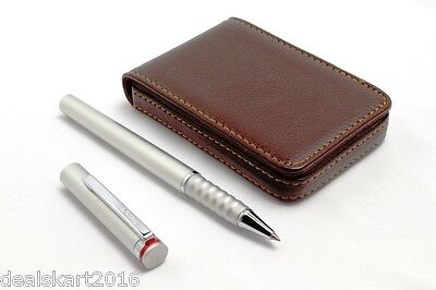 Rotring Esprit Rollerball Pen Satin Silver + Free Leather Atm Card Wallet Brown