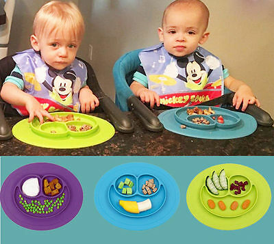 Mat One-Piece Dividers Silicone Baby Plate Placemat Feeding Dishe Kid Gift