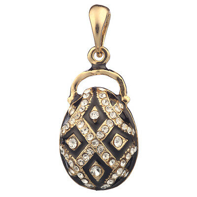 Faberge Egg Pendant / Charm with crystals 2.9 cm black #0808-13