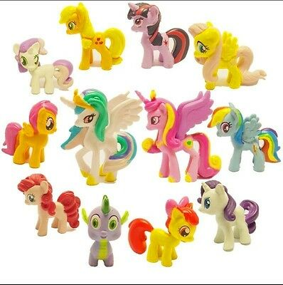 Home My Little Pony Action Figures Spike Celestia Rainbow Pony Toys 12Pcs Gift