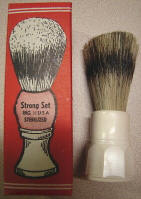 Original WW2 US Issue GI Shaving Brush w/Fancy RED Barber Shop Ad Box