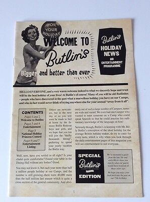 Butlins 1950's Replica Holiday Entertainment Programme Official